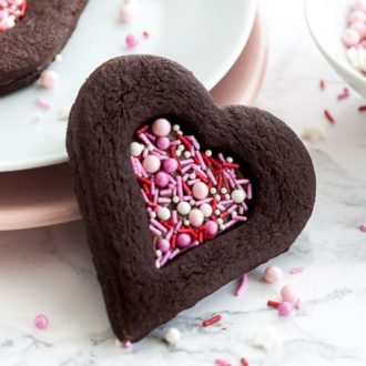 Valentine's Day Chocolate Sugar Cookies filled with Nutella