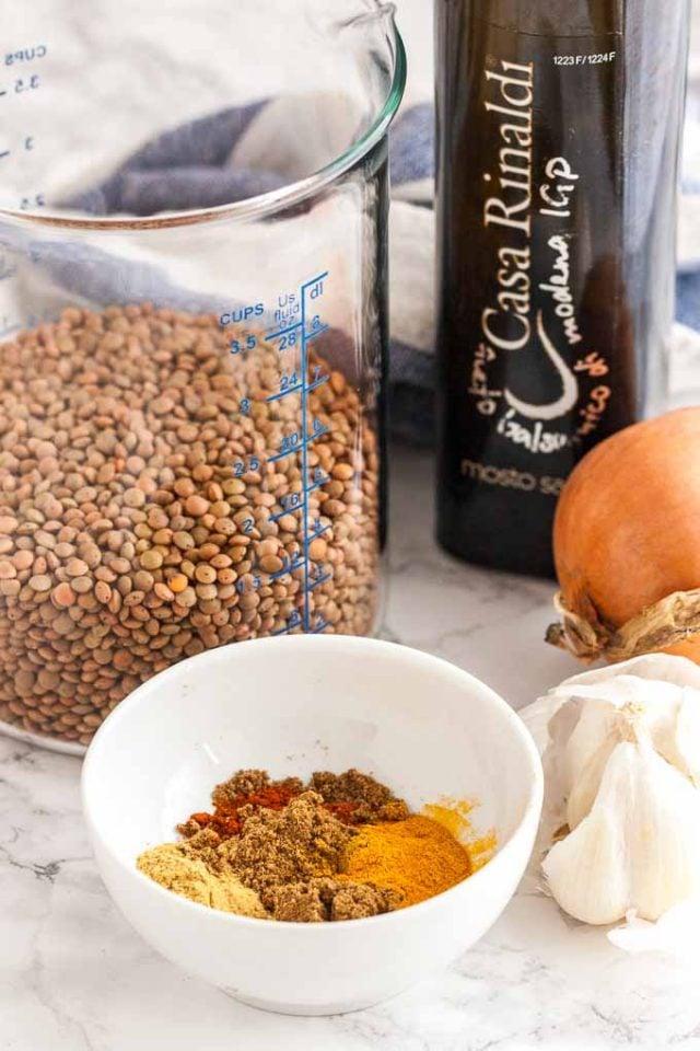Brown Lentils, spices, vegetables, and balsamic vinegar