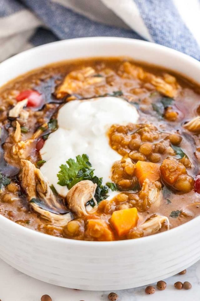 Instant Pot Chicken Lentil Soup with Vegetables
