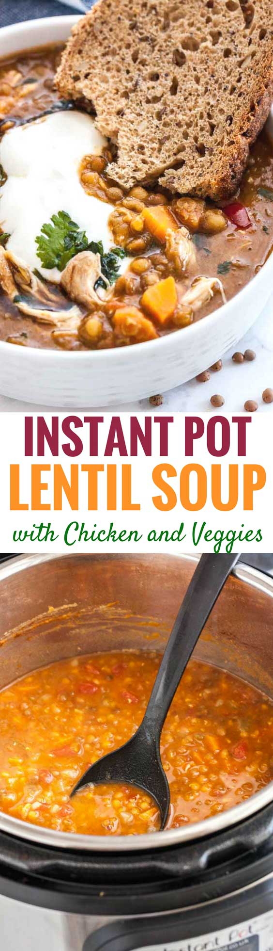This Instant Pot Lentil Soup is loaded with flavorful vegetables, brown lentils, and shredded chicken. An easy, hearty pressure cooker soup recipe that's healthy, easy to make, budget-friendly and perfect for chilly winter days! #soupseason #InstantPot #PressureCooker #Lentilsoup #vegetables #comfortfood