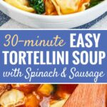 Spinach Tortellini Soup is so easy to make and filled with tortellini, fresh basil, Italian sausage, spinach, and butternut squash. A simple and satisfying comfort food recipe that is ready in half an hour and perfect for cold evenings!
