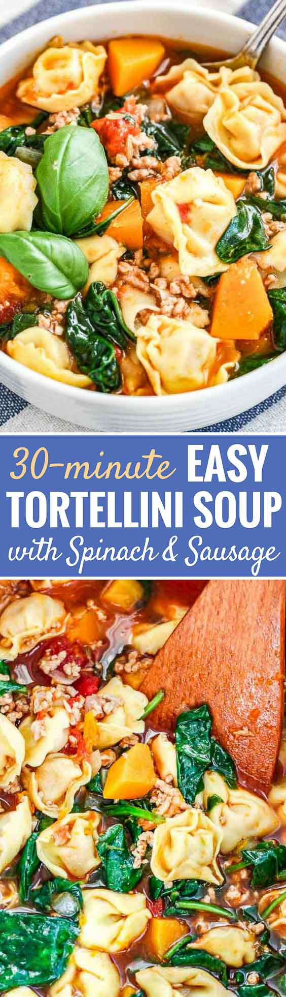 Spinach Tortellini Soup is so easy to make and filled with tortellini, fresh basil, Italian sausage, spinach, and butternut squash. A simple and satisfying comfort food recipe that is ready in half an hour and perfect for cold evenings! #tortellinisoup #souprecipes #comfortfood #soup