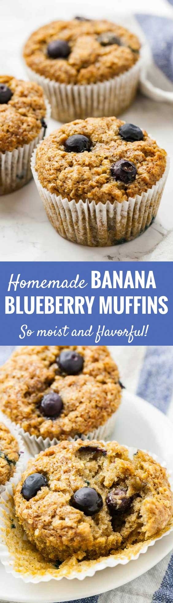 Banana Blueberry Muffins are bursting with blueberries and are so easy to make with simple ingredients! Brown sugar, three bananas, and lots of berries make these blueberry oatmeal muffins moist and delicious for days. A perfect freezable snack or breakfast treat that the whole family will love! #muffins #blueberrymuffins #breakfast #banana