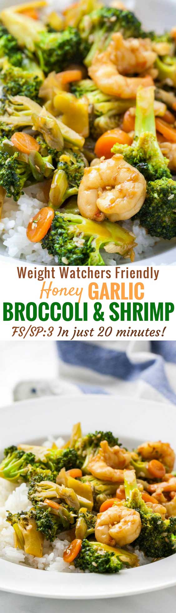 Honey Garlic Shrimp and Broccoli is one of my favorite easyAsian disheswith a flavorful sauce and tender vegetables that can be made in less than 20 minutes with just a few ingredients. It's super easy to put together and has just 3 weight watchers smart points per serving! #shrimp #weightwatchers #freestyle #lightmeal #stirfry #weeknightmeal #easydinner