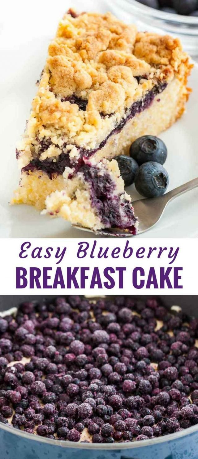 Homemade Blueberry Breakfast Cake is bursting with juicy blueberries and a hint of lemon! A delicious blueberry coffee cake made with sour cream that tastes great for breakfast or brunch and can be made in advance. This moist and tender cake recipe is so easy to make from scratch and can also be baked on a sheet if you need to feed a crowd. #BlueberryCake #CoffeeCake #LemonBlueberryCake #BlueberryBreakfastCake #CrumbTopping