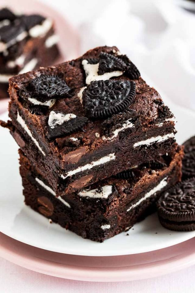 Homemade brownies loaded with Oreo Cookies