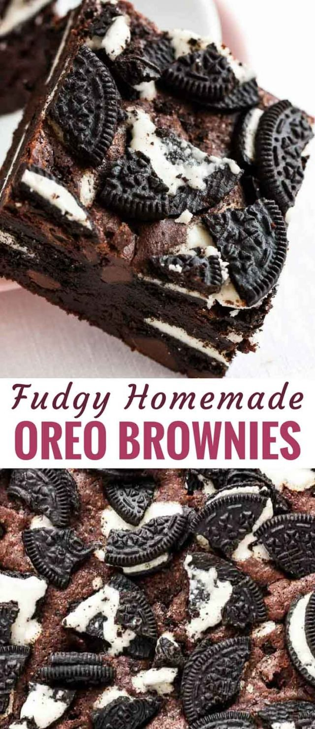 Oreo Brownies are fudgy, chocolatey, and out of this world delicious! A rich and chewy brownie batter stuffed with Oreo cookies, topped with more crumbled cookies and baked to perfection that is so easy to make from scratch and takes brownies to a whole new level of deliciousness. #brownies #Oreos #OreoBrownies #Cookies #StuffedBrownies #Baking #Chocolate