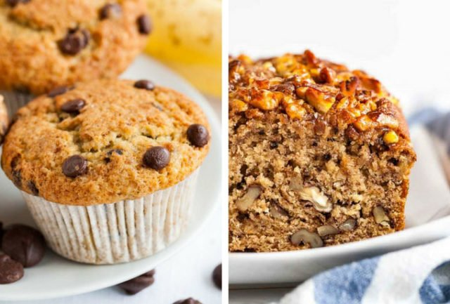 Banana Chocolate Chip Muffins and Banana Nut Bread