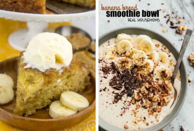 Banana Upside-Down Cake and Banana Bread Smoothie Bowl