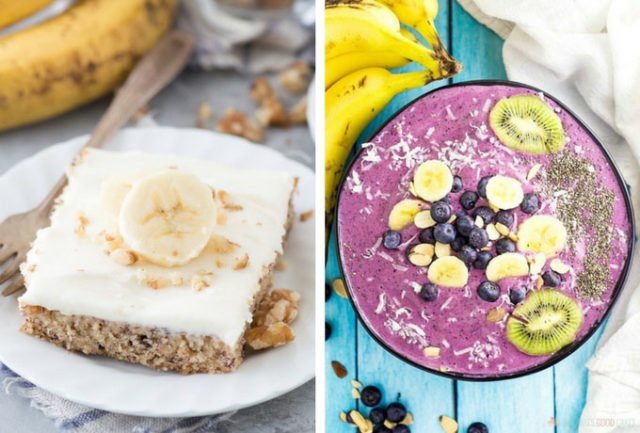 Banana Nut Bars and Blueberry Banana Smoothie Bowl