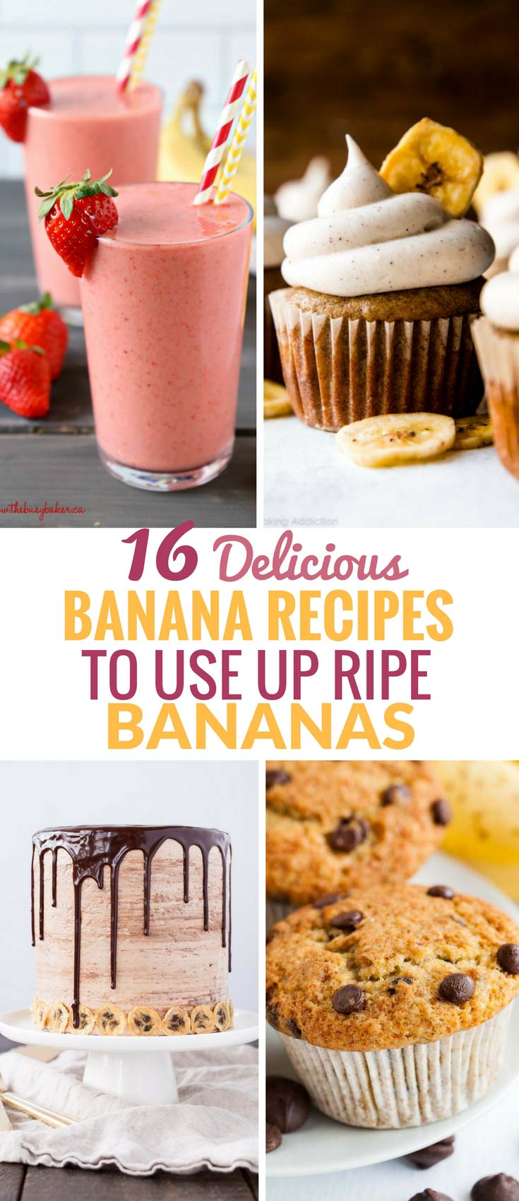 Ripe Bananas are perfect for baking and making smoothies! Looking for a recipe for ripe bananas other than banana bread? Check out these easy overripe banana recipes that are absolutely delicious. From healthy treats to stunning cakes, muffins and easy baking ideas, there is something for every occasion! #RipeBananaRecipes #Bananas #OverripeBanana
