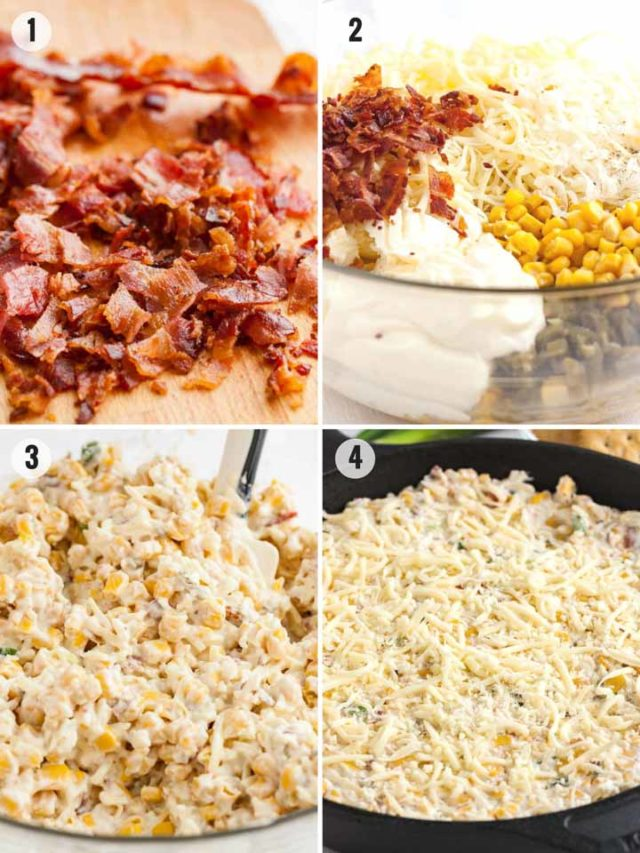 Step by step photos for how to make hot corn dip from scratch