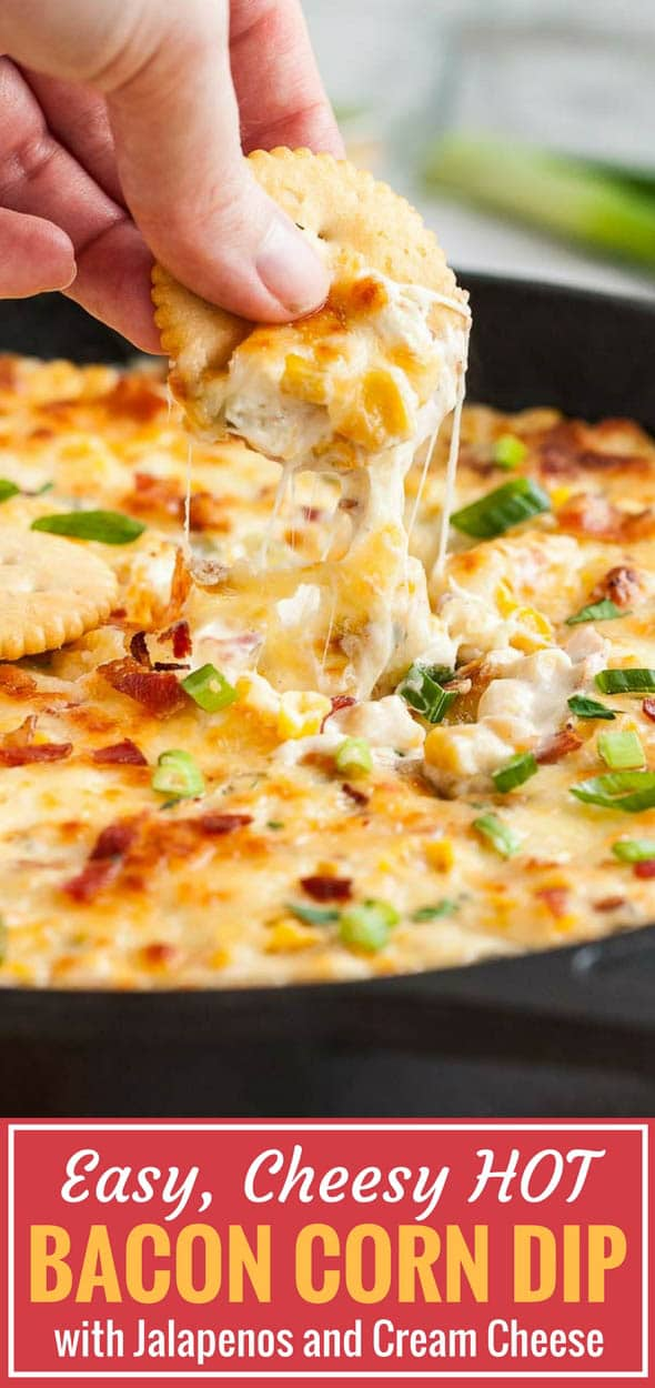 Hot Corn Dip made with cream cheese and mayo is loaded with bacon and three kinds of cheese. This cheesy, delicious warm appetizer recipe is sure to be a hit at any party and so easy and quick to throw together with pantry staples. Can be made ahead and tastes delicious with crackers, tortilla chips, or bread! #DipRecipe #CrackDip #CornDip #PartyRecipes #CincoDeMayoRecipes #Appetizer