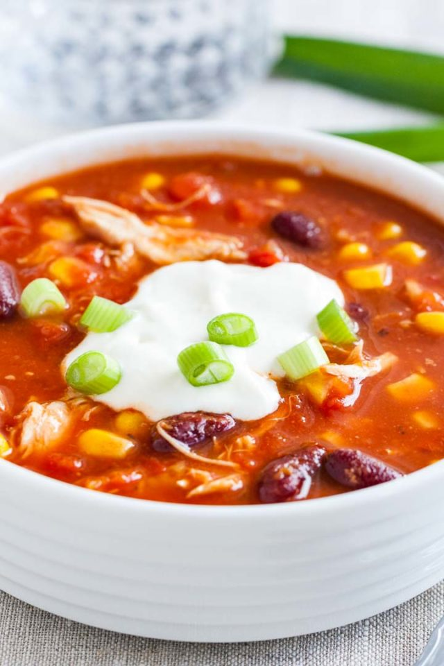 Pressure Cooker Chicken Chili with Sour Cream