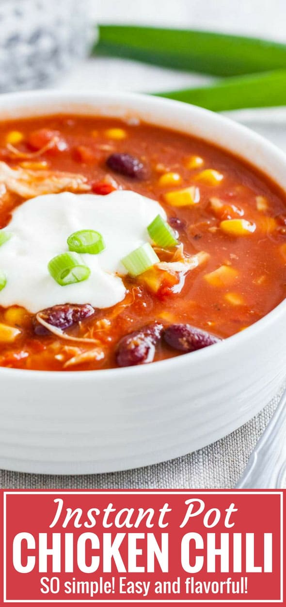 Instant Pot Chicken Chili is so easy and quick to make but loaded with flavor! This easy pressure cooker recipe comes together in minutes and makes a delicious weeknight dinner that your whole family will love. A healthy recipe that can be made with frozen chicken and pantry staples! #InstantPotRecipes #ChickenChili #PressureCooker #ChiliRecipes #CrockPotChickenChili