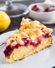 Lemon Raspberry Cake with a Streusel Topping and a layer of raspberries