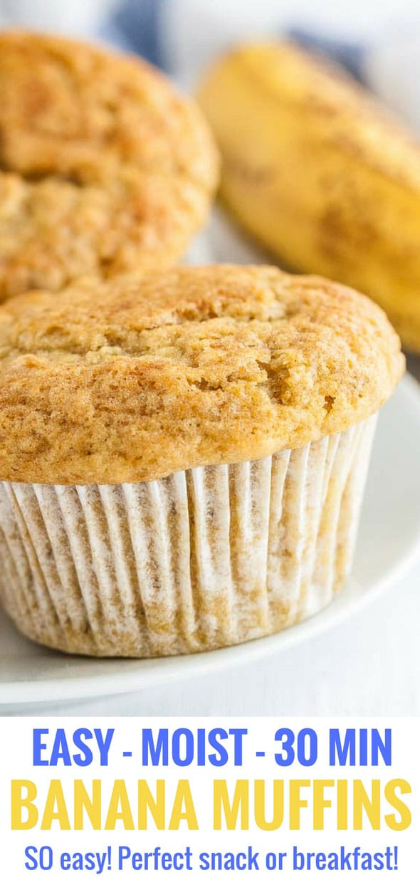 These easy Banana Muffins come together quickly and have a tender and moist crumb that makes these muffins a family favorite in our house! They bake up tall with bakery-style muffin tops and have the most delicious natural banana flavor. A quick and simple recipe to use up ripe bananas! #bananamuffins #bakingrecipes #ripebananarecipes #muffins #foodblogger
