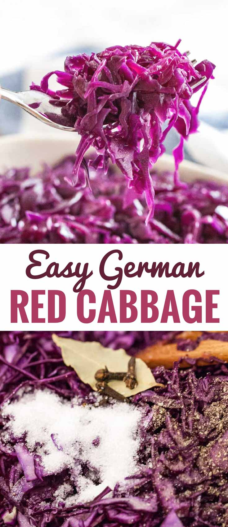 German Red Cabbage (Rotkohl) is a popular German side dish that is very easy to make from scratch! It tastes so aromatic with a distinctive sweet and sour flavor and makes a perfect side for a roast dinner together with spaetzle or potato dumplings. This recipe for braised red cabbage with apples is a family favorite! #rotkohl #blaukraut #Oktoberfest #RedCabbage #GermanSideDishes #EasySideDishes #GermanRecipes