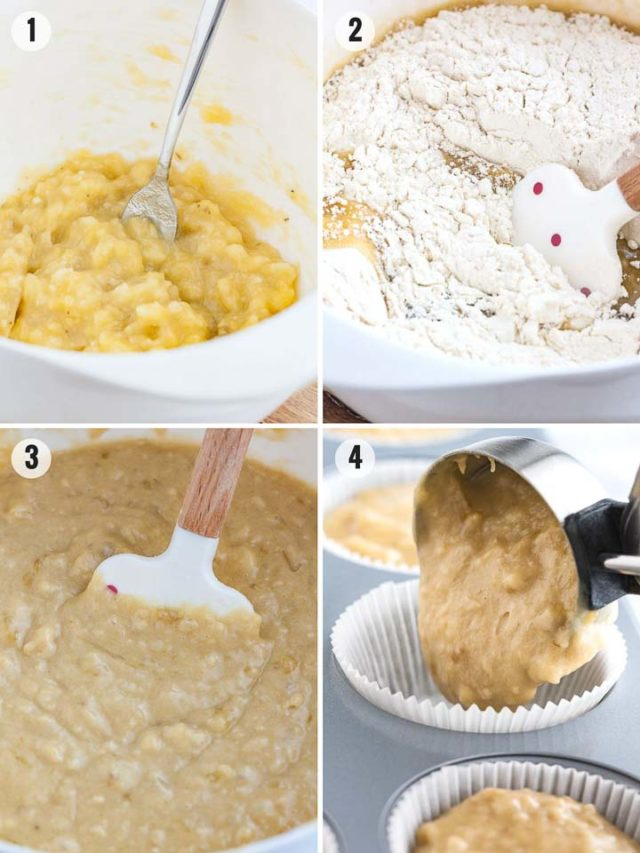 Step by Step Photos for How to make Banana Muffins