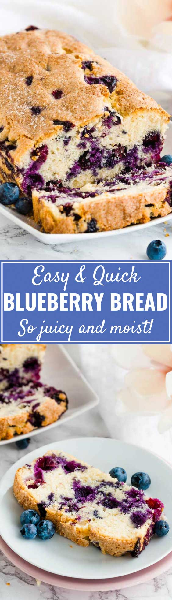 Blueberry Bread is super easy and quick to make from scratch! This moist quick bread is loaded with fresh blueberries and topped with a sprinkle of sugar for some crunch. A perfect quick breakfast for busy mornings that the whole family will love! #blueberrybread #blueberryquickbread #quickbread #blueberryrecipes #breakfastrecipes #blueberries