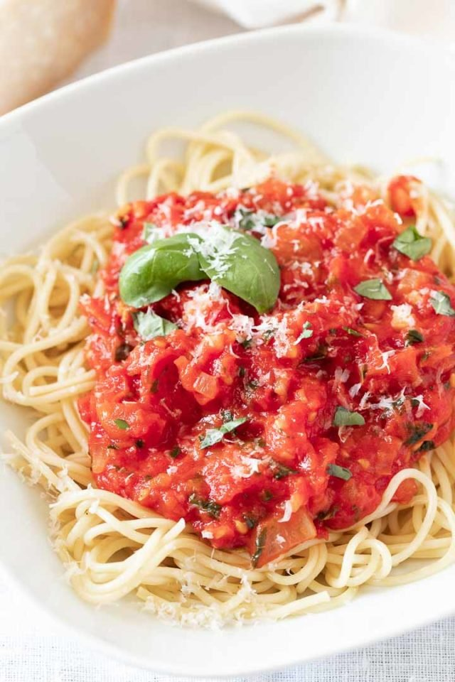 Homemade spaghetti sauce with fresh tomatoes