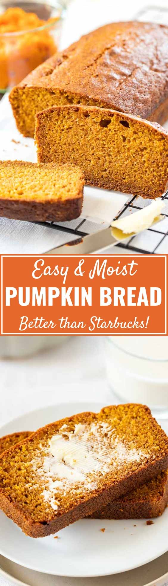 Easy Pumpkin Bread tastes so flavorful and is super easy to make from scratch! This simple Pumpkin Spice Bread is so moist and tastes even better than the one you can get at Starbucks. A family favorite that kids and grown-ups will love!#PumpkinSpice #PumpkinBread #FallRecipes #Breakfast #PumpkinRecipes #FallBreakfast #Pumpkin #Quickbread