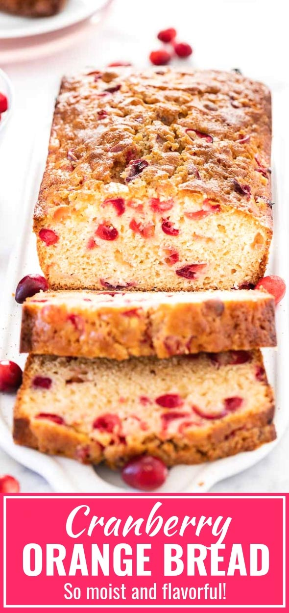 Cranberry Orange Bread is easy and quick to make from scratch and keeps fresh for days! This moist cranberry bread is perfect for the holidays and is bursting with flavor. Makes a great breakfast or afternoon snack! Perfect recipe for using up leftover cranberries from Thanksgiving. Works with fresh, frozen, and dried cranberries! #cranberries #cranberrybread #CranberryOrangeBread #Quickbread #Recipe #baking #Holidaybaking #Thanksgiving