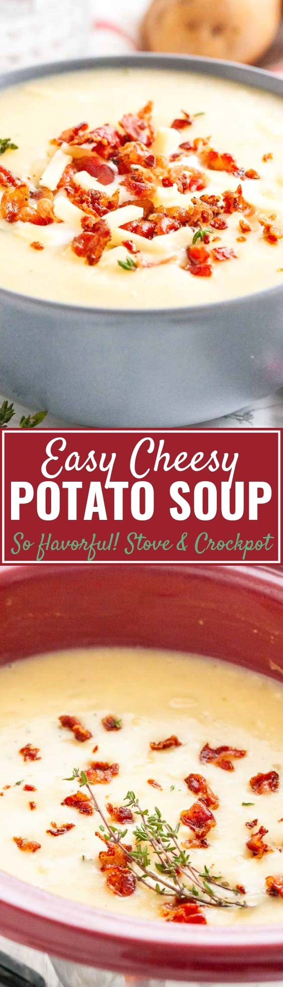 Cheesy Potato Soup is the perfect comfort food for cold winter evenings that your whole family will love! This creamy crockpot potato soup is loaded with flavor, comforting, and easy to throw together. Perfect for cold winter days! #soupseason #crockpotmeals #souprecipes #potatosoup #cheesypotatosoup #potatocheesesoup