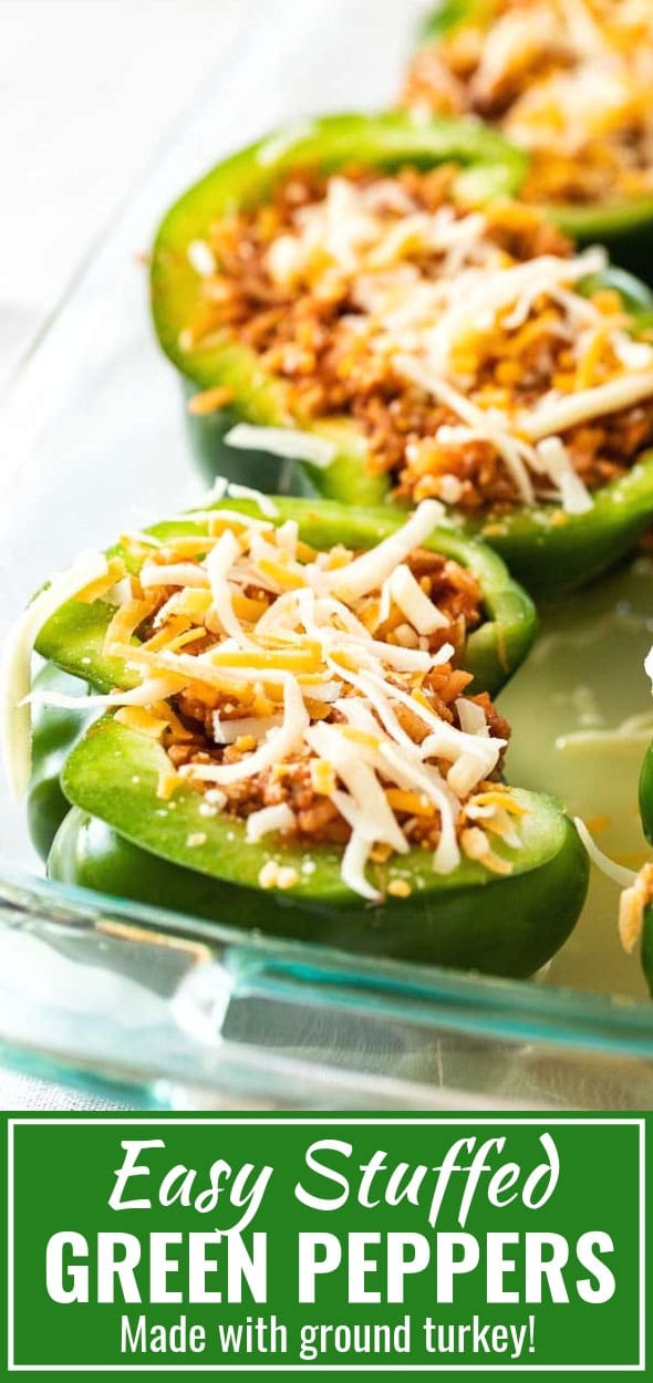 Stuffed Green Peppers are filled with ground turkey, rice, and tomato sauce, then topped with cheese and cooked in the oven. This easy ground turkey stuffed peppers recipe makes a healthy and delicious dinner that the whole family will love! #stuffedpeppers #bellpeppers #dinner #recipe #easystuffedpeppers #groundturkey