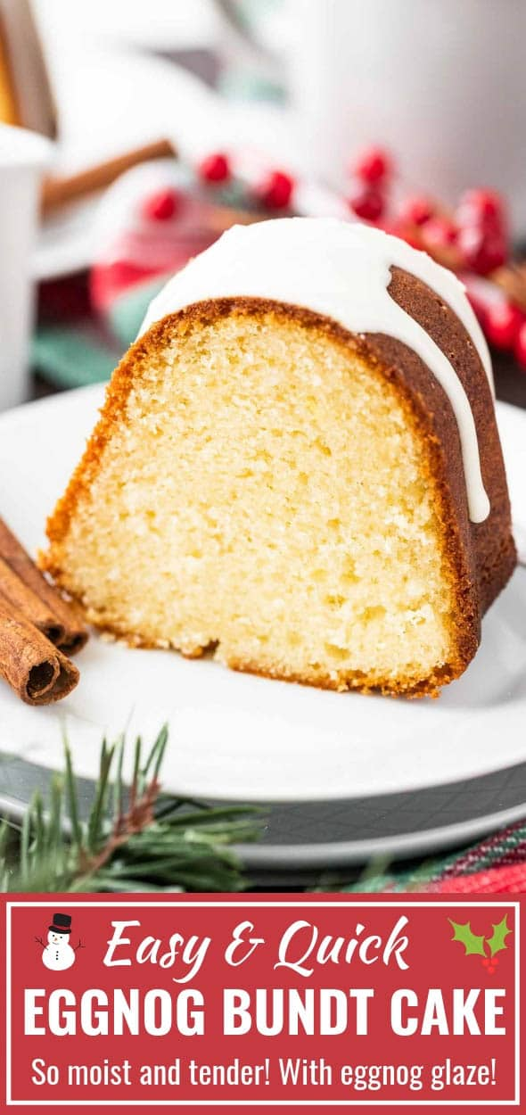 Eggnog Cake with a delicious eggnog glaze is the perfect holiday dessert! Easy and quick to make from scratch this moist bundt cake is so flavorful and tastes even better on the next day - a perfect cake to make in advance. #EggnogCake #HolidayCake #BundtCake #HolidayDesserts