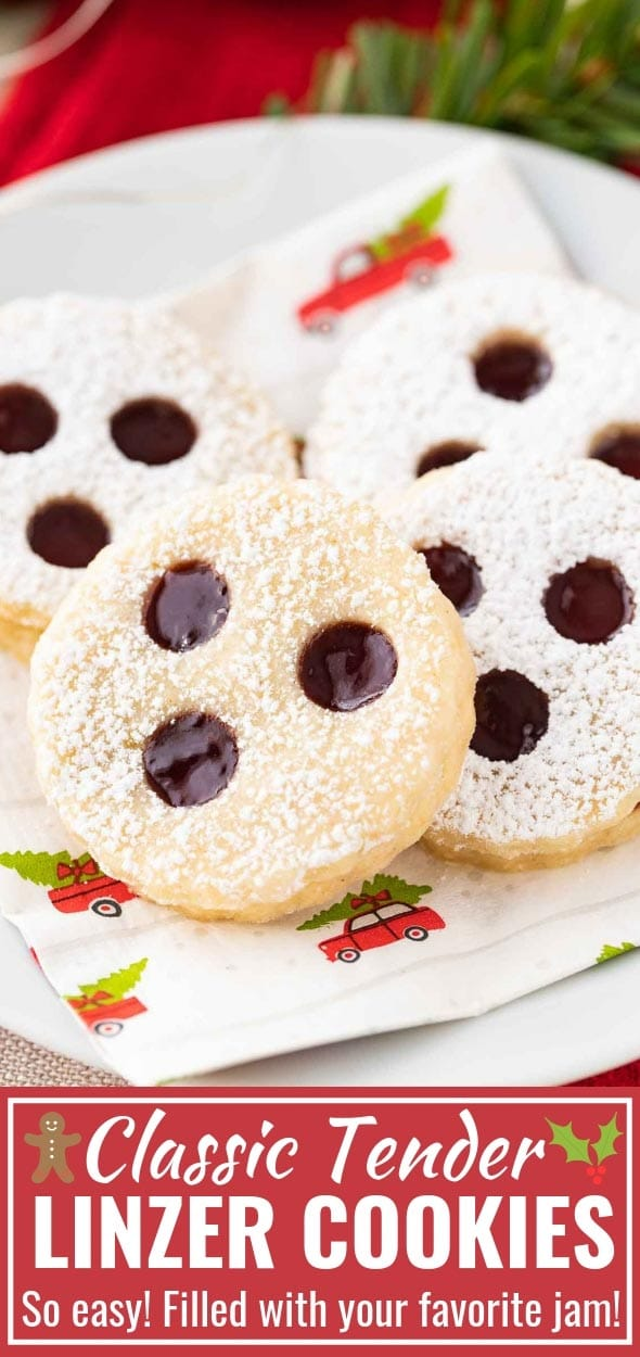 Linzer Cookies are little sandwich cookies filled with jam that are very popular during Christmas time in Germany and Austria! These traditional buttery cookies are so delicious and make a great addition to every cookie platter. #ChristmasCookies #LinzerCookies #SugarCookies