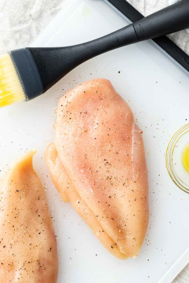 Chicken Breasts brushed with oil and sprinkled with salt and pepper
