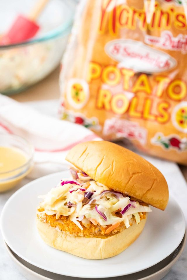 Fried Chicken Sandwiches made in the Air Fryer with Slaw
