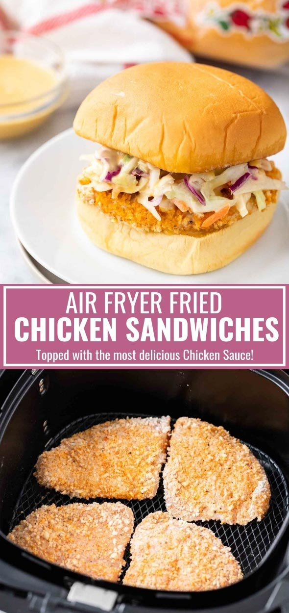 Air Fryer Fried Chicken Sandwiches are topped with the most delicious homemade sauce and crunchy slaw! This easy Air Fryer recipe is perfect for your next game day party and makes enough delicious chicken sandwiches to feed a crowd. #AirFryerRecipes #ChickenSandwiches  #sponsored