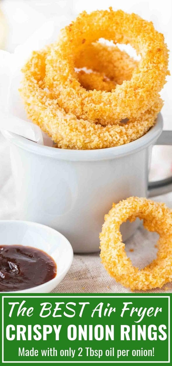 Air Fryer Onion Rings are extra crispy and make a perfect game day snack or party appetizer. Perfectly seasoned, easy to make, and so delicious! Ditch the deep fryer in favor of this quick Air Fryer recipe! #gamedayrecipes #AirFryerRecipes