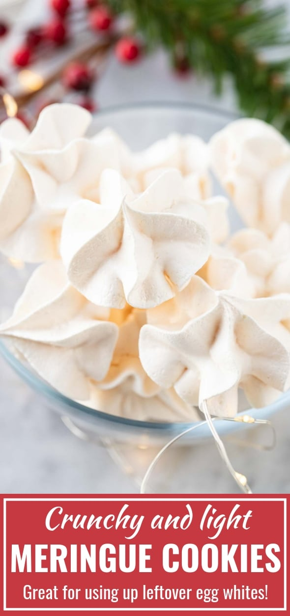 Meringue Cookies are crispy and light cookies made with only 4 ingredients that are perfect for using up leftover egg whites! This easy recipe works for any amount of egg whites and uses no Cream of Tartar. #MeringueCookies #CookieRecipes