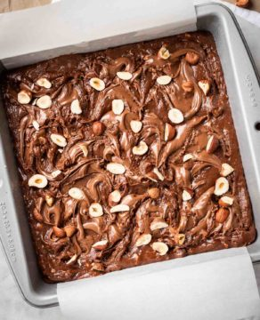 Brownies swirled with Nutella and Hazelnuts
