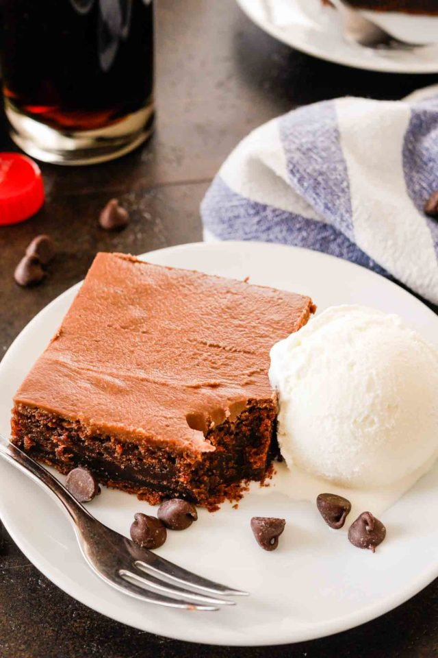 Double Fudge Coca Cola Cake with Ice Cream