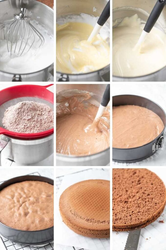 A collage that shows how to make a sponge cake