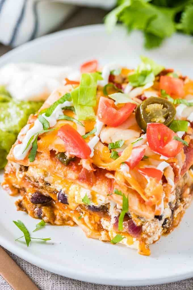 Tortilla Lasagna with Guacamole