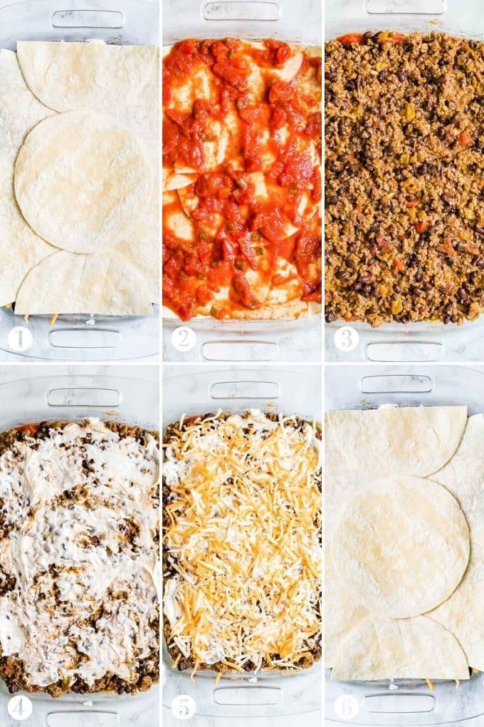 How to Assemble Taco Lasagna