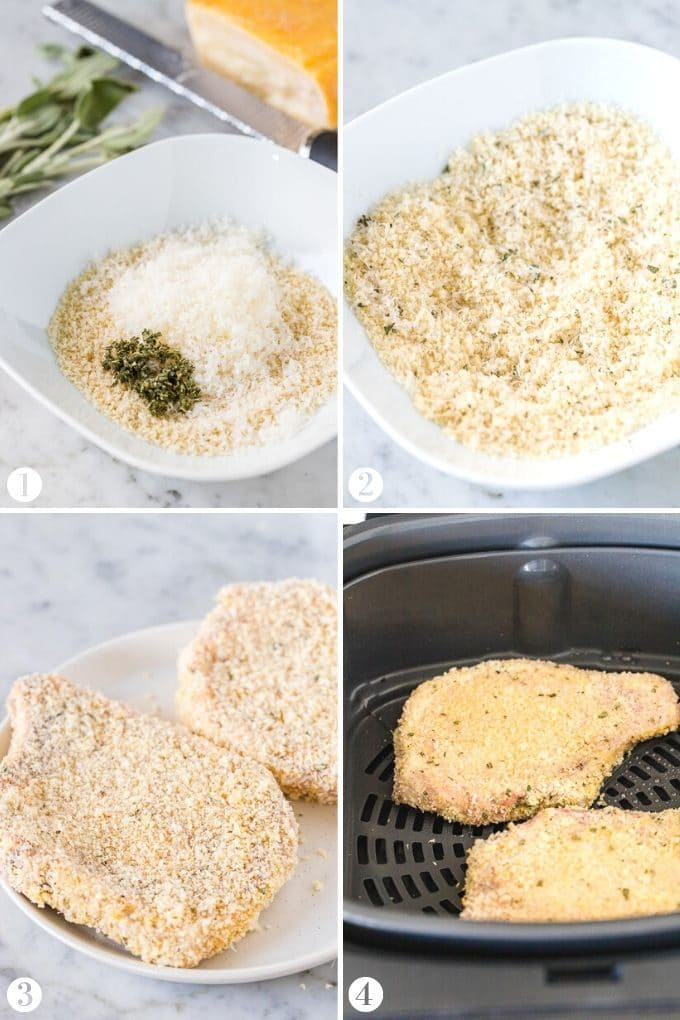 Process shots showing how to make Air Fryer Pork Chops