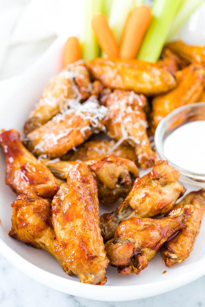 Chicken wings on a serving platter