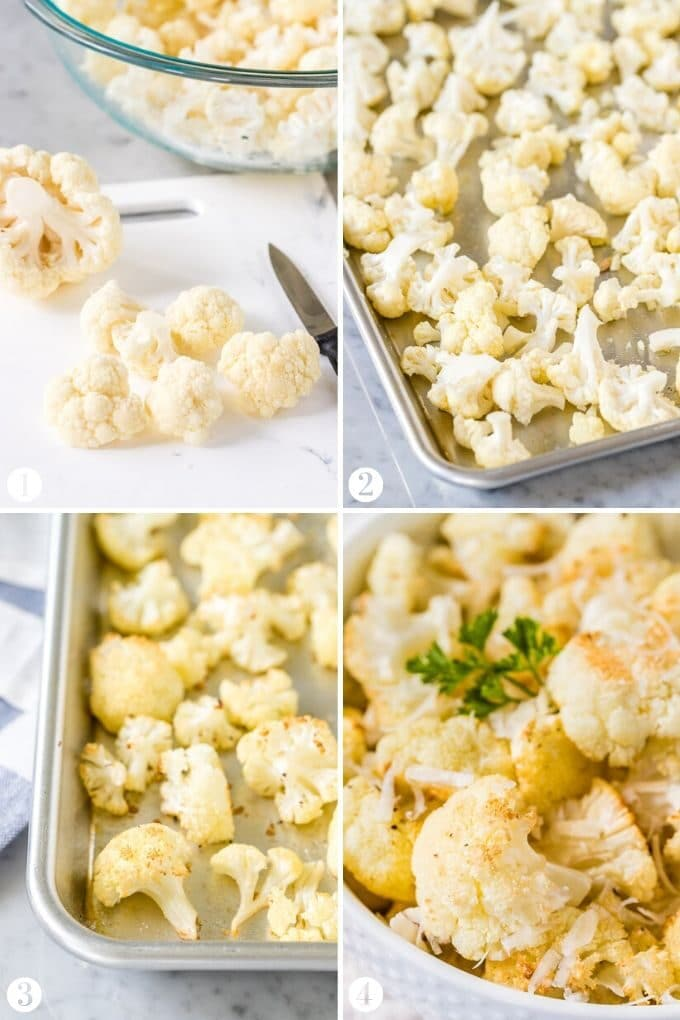 Step by step instructions for making roasted cauliflower