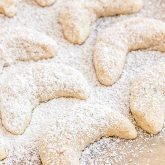 Vanillekipferl dusted with Powdered Sugar