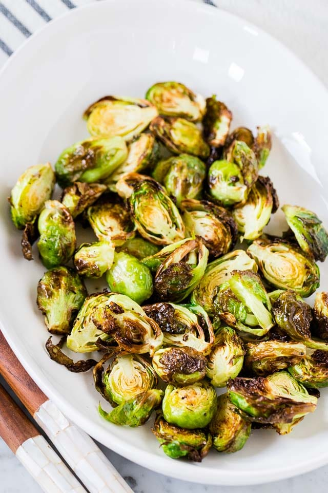Air Fryer Brussels Sprouts on a serving platter