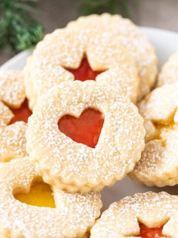 Linzer Cookies on a plate