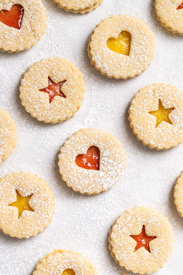 Assembled Christmas Cookies filled with jam