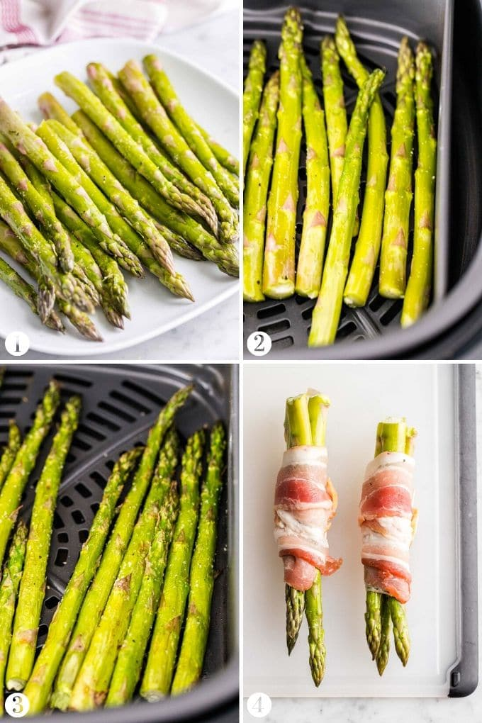 Step by Step Collage about how to Make Air Fryer Asparagus