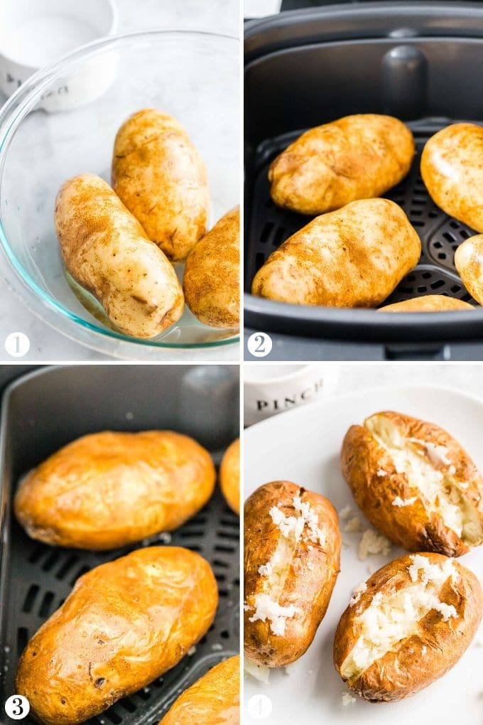 How to make Baked Potatoes in the Air Fryer Collage